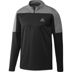 adidas 1/4 Zip UPF Lightweight Golf Pullover Black/Grey